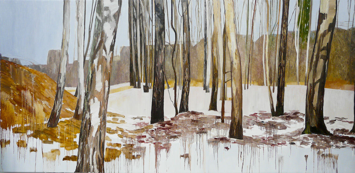 Forest/spring, oil on canvas, 184x382, 2013
