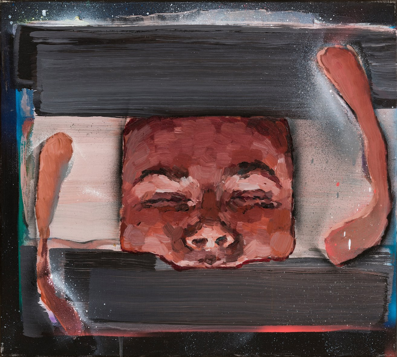 Mind(e)scape, oil, aerosol spray on canvas, 45x50, 2018