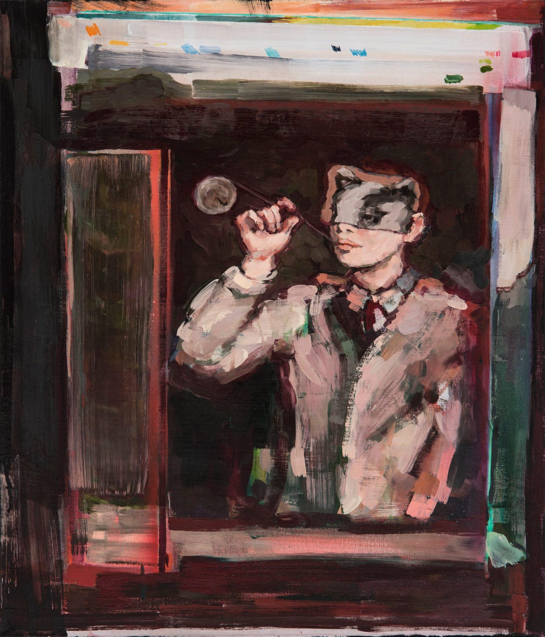 The Storyteller, oil, aerosol spray on canvas, 70x60, 2018