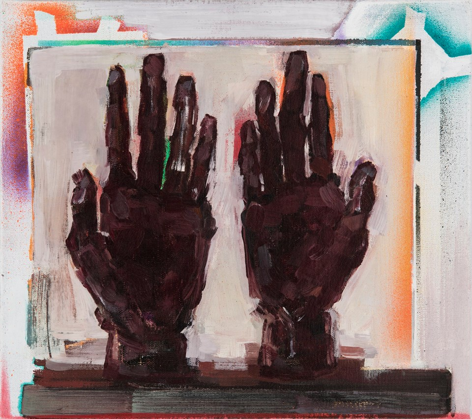 Painted hands/Hands of painting, oil, aerosol spray on canvas, 40x45, 2018