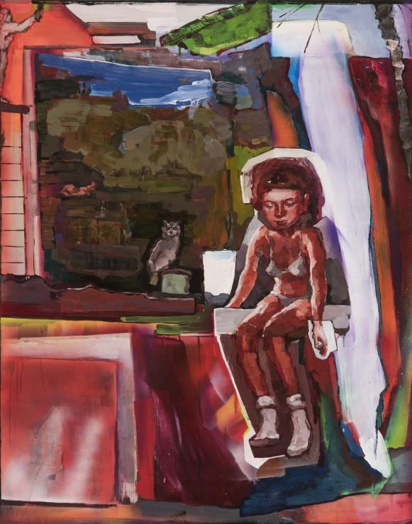 The Girl is Innocent, oil, aerosol spray on canvas, 142x111, 2018