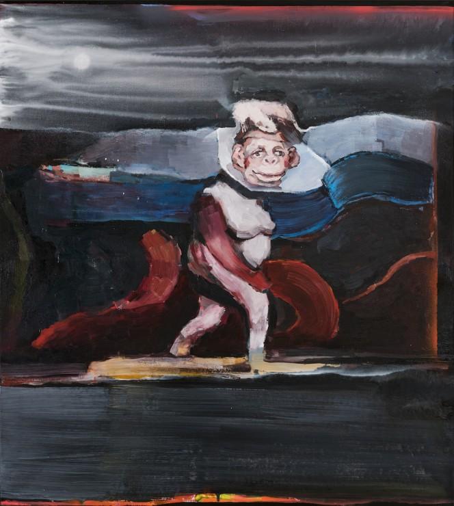 Appropriated, oil, aerosol spray on canvas, 100x90, 2018