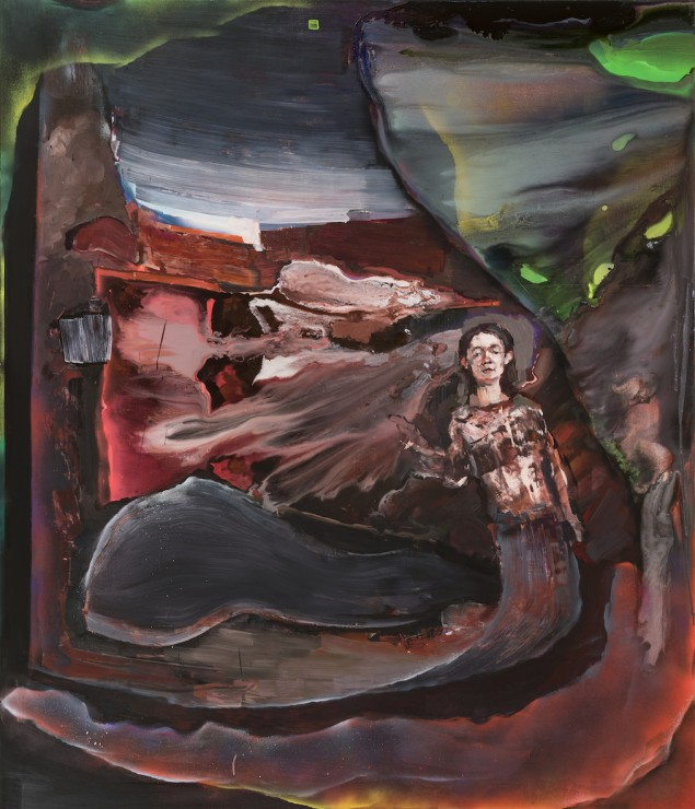 Painter model (Celia), oil, aerosol spray on canvas, 120x180, 2018