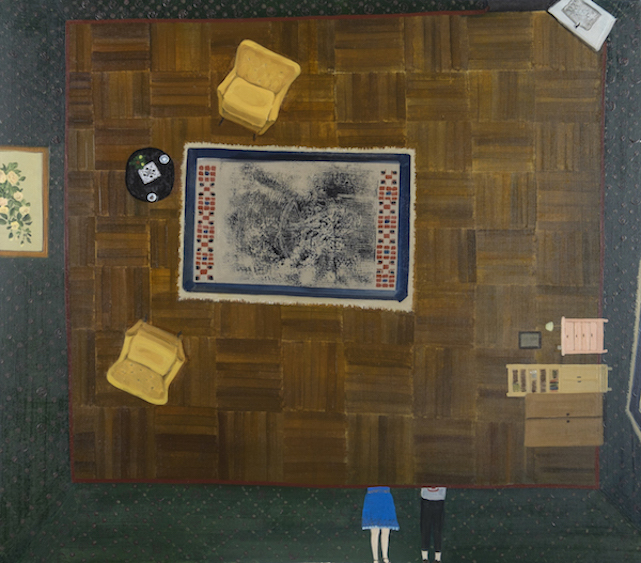 The guest room. Talks about migraine and Velasquez, oil on canvas, 110x125, 2015