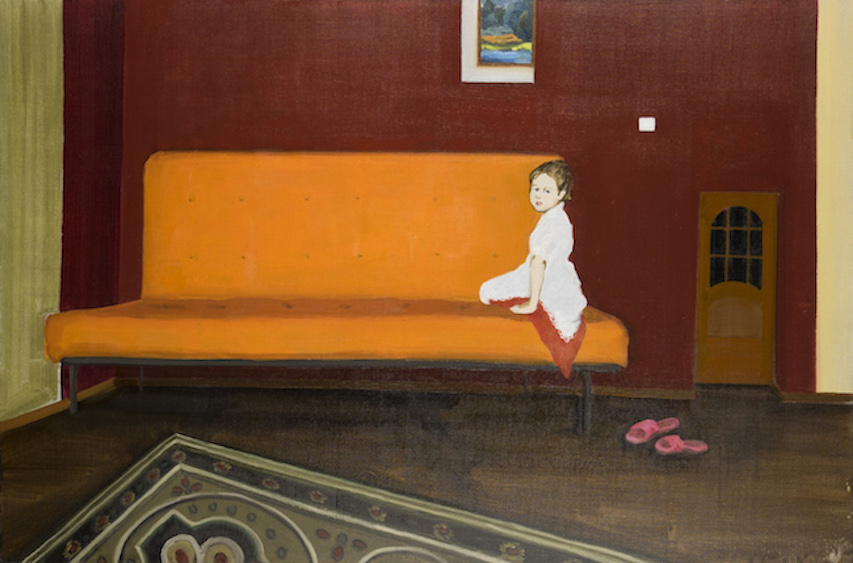 The hairdo was saved when the hidden slippers was found, oil on canvas, 80x120, 2015