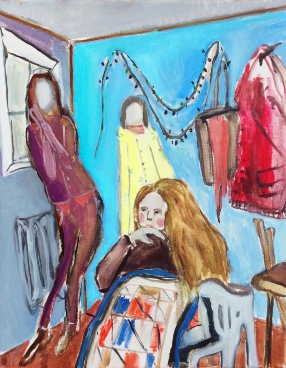 Three friends, oil on canvas, 50x28, 2016