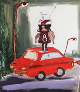 R.-Blazeviciute-Nespalvotame-kra--te-pasirod---raudonas-automobilis-oil-on-canvas-100x90-2018-645x740
