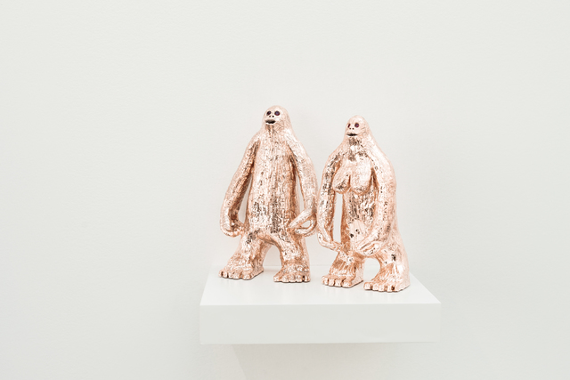 The Royal Bigfoots, terracota, gold, rubbie, 26 × 30 × 10, 2018