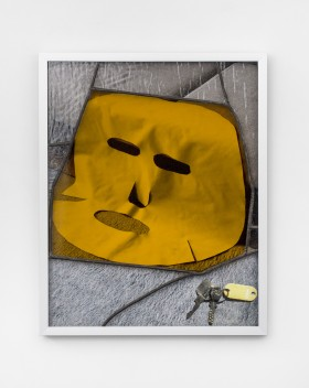 Not sure if it's a smile, Archival photo print, stained glass, lead, aluminium frame, 50x40x3, 2020
